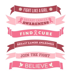 Breast cancer awareness pink banners set vector