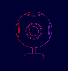 Chat web camera sign line icon with vector