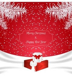 Christmas red card with a white silk White vector image vector image