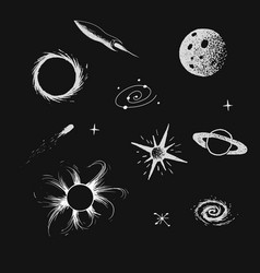 collection of universe objects vector image vector image