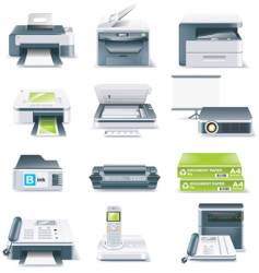 computer parts icon set vector image