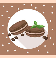 Delicious macaroons round card for menu vector