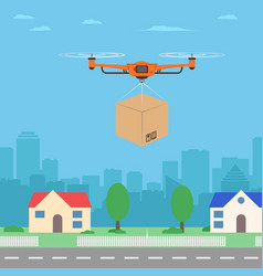 delivery drone with the package city background vector image