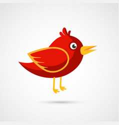 Fire red bird icon vector