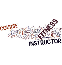 Fitness instructor course text background word vector