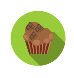 Flat design concept cupcake with long shadow vector