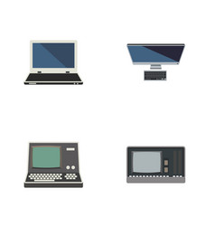 Flat icon laptop set of technology vintage vector