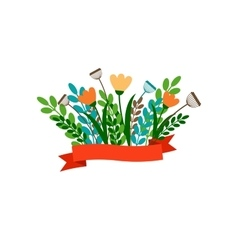 Floral decorative bouqet with ribbon vector