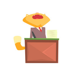 funny businessman fox in a suit yawning while vector image vector image