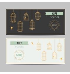 Gift certificate voucher coupon template with gold vector