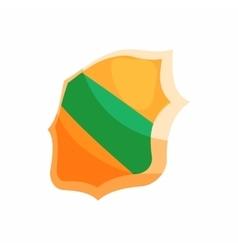 Green band shield icon cartoon style vector