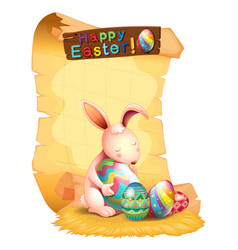 Happy easter poster design with bunny and eggs vector