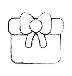 Line gift present with ribbon decoration to vector