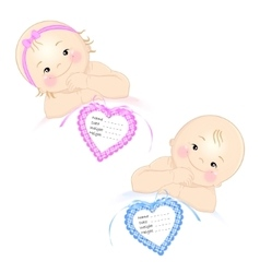 Newborns with tag vector image vector image