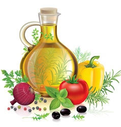 Olive oil and vegetables vector image vector image