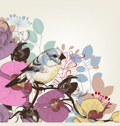 Orchid and cute bird greeting card vector