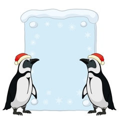 Penguins with Christmas poster vector image vector image