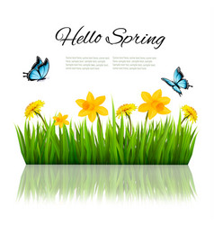 Spring nature background with green grass flowers vector