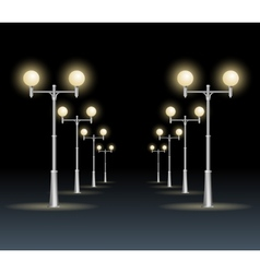 Street lanterns background night dark sky vector