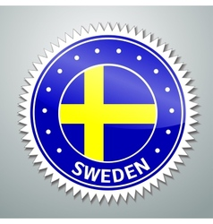 Swedish flag label vector image vector image