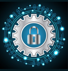 technology digital cyber security lock gear vector image