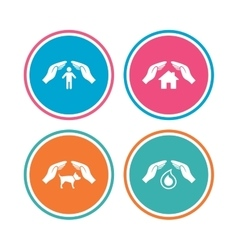 Hands insurance icons human life-assurance sign vector
