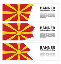 Macedonia flag banners collection independence day vector