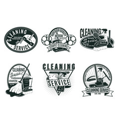 vintage professional cleaning service labels set vector image