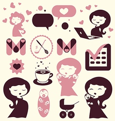 Maternity cartoon icons vector