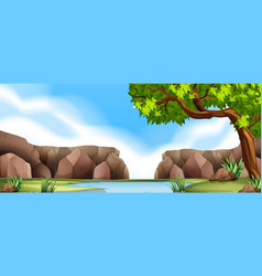 Nature scene with cliff and river vector