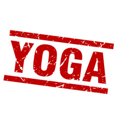 Square grunge red yoga stamp vector