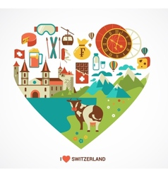 Switzerland love - heart with icons vector