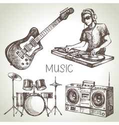 Sketch music set hand drawn of dj icons vector