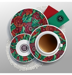 Plates and cup of coffee vector