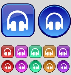 Headphones earphones icon sign a set of twelve vector