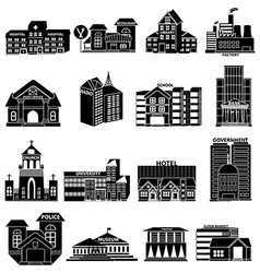 Public buildings icons set vector