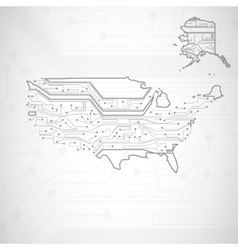 Usa map circuit board background vector