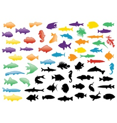 Fish silhouettes set vector
