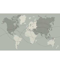 world map made out of small squares vector image