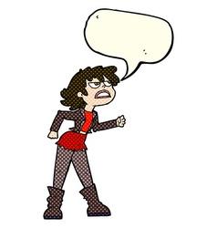 Cartoon angry biker girl with speech bubble vector
