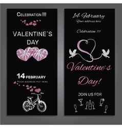 Set invitation for valentines day on chalk board vector