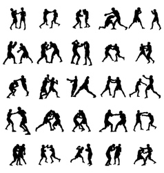 Boxing silhouette set vector