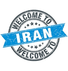 Welcome to iran blue round vintage stamp vector