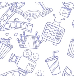 Cartoon doodles hand drawn cinema seamless vector
