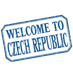 Czech republic - welcome blue vintage isolated vector