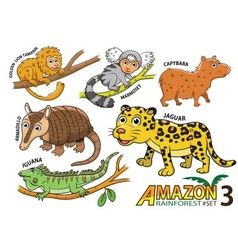 Set of cute cartoon animals in the amazon vector