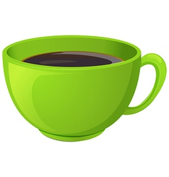A green cup with coffee vector