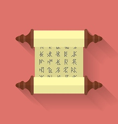 Ancient scroll or parchment with runes icon flat vector