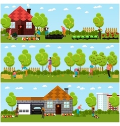 Banners of gardening horticulture vector
