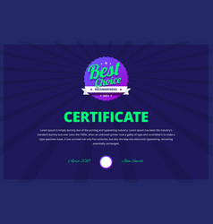 best choice certificate for award winners vector image